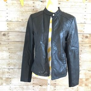 Express black faux leather moto jacket medium m